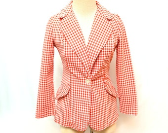 60s Red and White Checkered Fitted Blazer Jacket Women's Small
