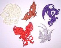 Mini Embroidered Baroque/Tattoo style Motif / Patch / Badge / Applique Dragon / Pheonix / Skull / Bat / Bluebird - Lots of Colour Choices