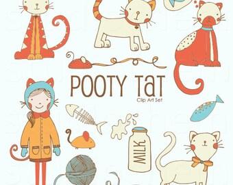 Pooty Tat Cute Kitty Cat Clip Art Set