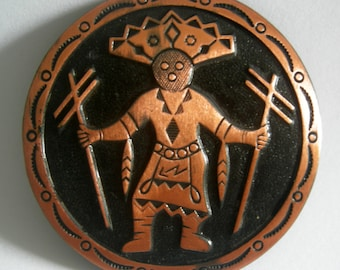 Round Copper and Black Tone Native American Tribal Brooch Pin | Signed COPPER BY BELL | Vintage