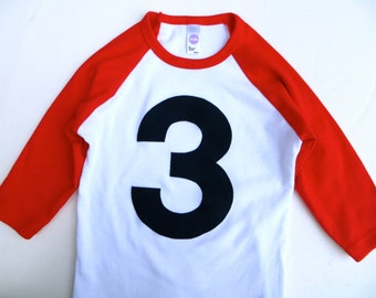 Birthday T Shirt- Red and White Raglan 1st, 2nd, 3rd Birthday Shirt Boy with Navy 1 2 3 4 5
