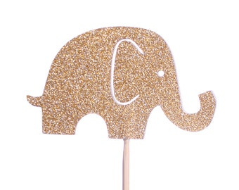 Gold Baby Elephant Cupcake Toppers