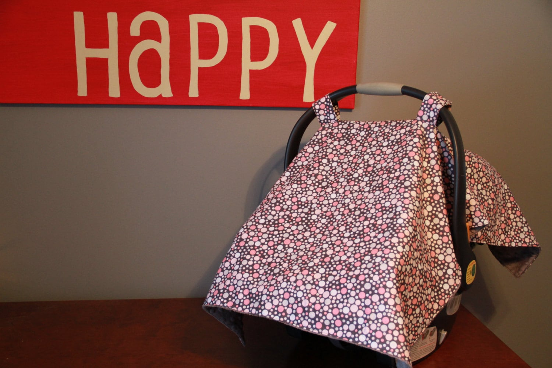 Grey And Pink Polka Dot Car Seat Cover
