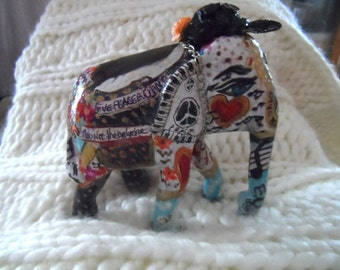 John Lennon tribute elephant , one of a collection of hand painted elephants