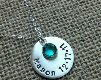 Mom Necklace, Personalized Name Date Birthstone, Hand Stamped Mothers Necklace, Grandma Necklace, New Mommy Necklace