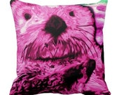 throw pillow, Bright Pink, Sea Otter artwork, color options, color choices, pink otter, animal artwork, Otter pillow, Jennifer Stedman,