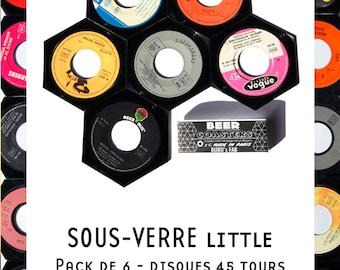 Beer coaster - 6 pieces per parck - vinyl vintage 45 trs -