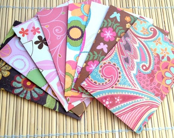 Handmade note cards set of 8 patterned envelopes and solid cards