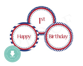 INSTANT DOWNLOAD Whale Party Circles (Nautical Birthday Decor, Printable Party Circles, 1st - 10th, Stitched Whale)