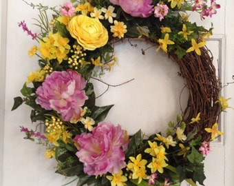 "Spring Wreath, Peony , Forsythia, Daffodil  Easter Wreath, Lavender and Yellow Door Wreath, ""Spring Bouquet"", Mother's  Day"