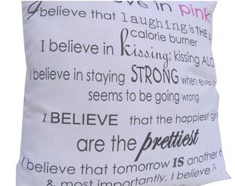Audrey Hepburn Pink Canvas I Believe in Miracles Medium Quote Pillow