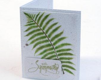 Sympathy card, green fern leaf, woodland with sympathy blank card