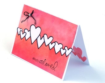 Romantic String of Hearts card,  Pink I love you blank card, simply adored, Anniversary card