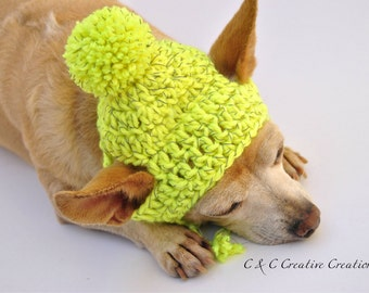 Reflective Dog Hat - Yellow - Pet Hat - Cat Hat - Dog Beanie - Hand Crochet - Made To Order
