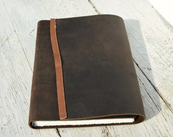 Brown Leather Bound Journal Art Diary Watercolor Ledger Custom Made to Order (259B)