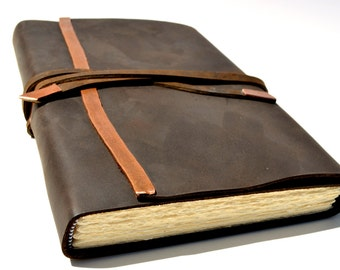 Handmade Custom Leather Bound Journal Planner Diary Made to Order Ledger (324D)