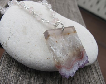 Rose Quartz Slab Necklaces- Raw Gemstone Beaded Necklaces- Amethyst Geode Slice Necklaces- Rectangle Purple Unique Necklaces-