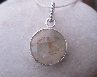 Statement Necklace- Gold Rutilated Quartz Necklace- Quartz Necklace- Topaz Necklace- Gemstone Necklace- Stone Necklace-Rutile Necklace