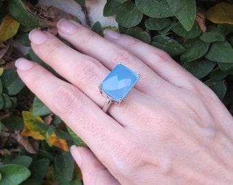 Blue Chalcedony Statement Ring- Blue Gemstone Solitaire Ring- Rectangle Shape Stone Ring- Unique Sterling Silver Ring-