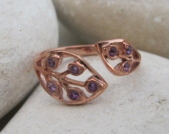 Purple Amethyst Leaf Ring- Unique February Birthstone Ring- Customize Multistone Mothers Ring- Rose Gold Ring- Promise Ring for her