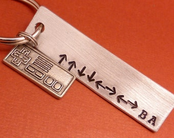 Konami Code - A Hand Stamped Keychain in Aluminum or Copper w/ Controller Charm