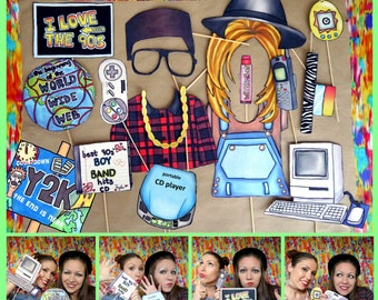 nineties photo booth props - perfect for a throw back 90s theme party or a crazy retro themed event