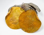 Large hammered copper earrings, yellow patina, orange patina, large round, organic, leverback earwires, boho, hippie, ER0206
