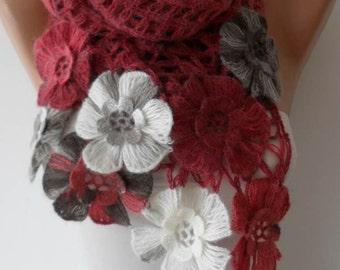 Burgundy Wool Crochet Scarf - Handknit - Winter Scarf