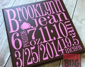 Personalized birth announcement subway art on wood sign - Gift for new baby