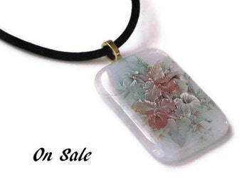 Spring bouquet fused glass pendant - pale blue and white - On Sale