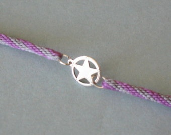 Star anklet - sterling silver on Kumihimo braid - gray and violet - for him or her