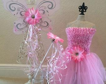 Pink Fairy Costume, Pink Princess Costume, Fairy Tutu, Princess Tutu, Tinkerbell Costume, Tinkerbell Tutu, Fairy Wings, Tinkerbell Wings