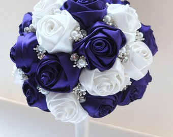 Satin Rose Bouquet, Purple & White Satin Rose Bouquet, accented with rhinestone (Medium, 7 inch)