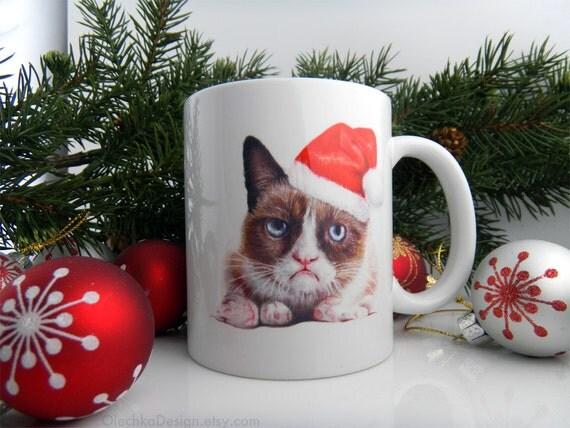 Grumpy Cat Mug Grumpy Santa Ceramic Coffee Mug Funny Geek