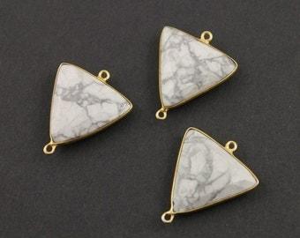 Natural White Turquoise , Bezel Traingle Shape Gemstone Component, Gold Vermeil,  ,  22mm 1 Piece, (BZCT8112)