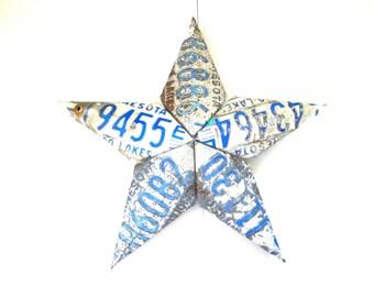 Minnesota Star - License Plate Star - Distressed Star - Metal Barn Star - Rustic Home Decor - 3 Dimensional Star,3d Barn Star,Upcycled Star