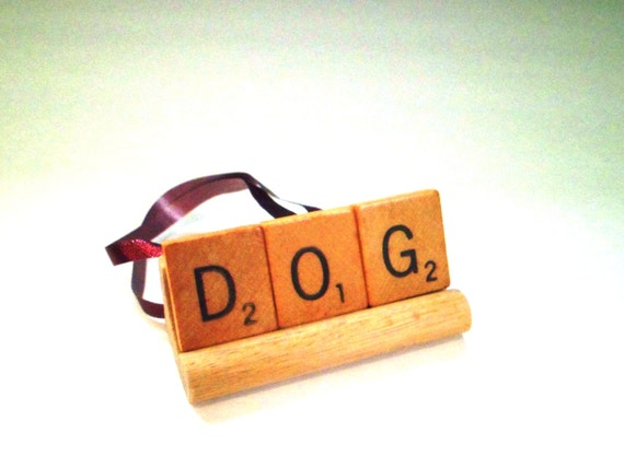 CLEARANCE Ornament - Dog Ornament - Scrabble Ornament - Scrabble Tile Gift - Pet Ornament - Scrabble Letter Art - Dog Lover Gift - SALE