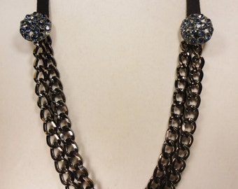 Vintage Button and Chain Necklace with Ribbon