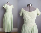 1950s Dress Chiffon Celery Green Dress Ruched Full Skirt 50s Party Dress / Small