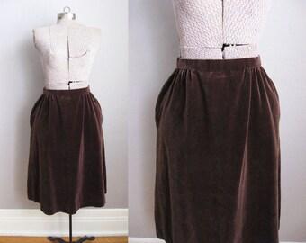 1960s Brown Velvet Skirt with Pockets 60s Skirt / Medium