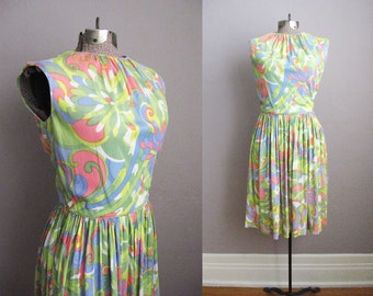 1960s Day Dress Psychedelic Neon Floral Print Pink Green Yellow 60s Mad Men / XS Small