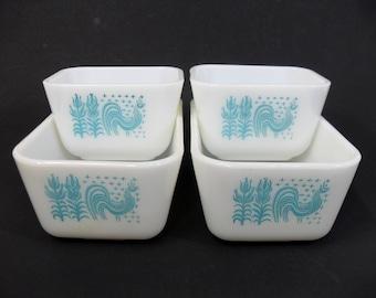 Pyrex Refrigerator Butterprint Dishes Blue Amish Set, 501, 502, Blue Amish Pyrex Set,