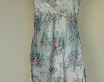 Vintage Floral Slip Dress/ Nightie in pink and green-medium