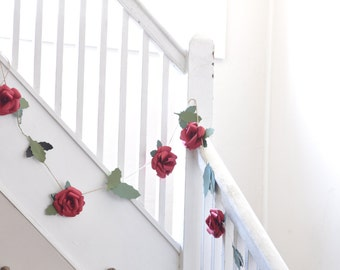 Christmas Garland-  Red Rose Garland-Paper Flower Wedding Garland-Red Flower Garland