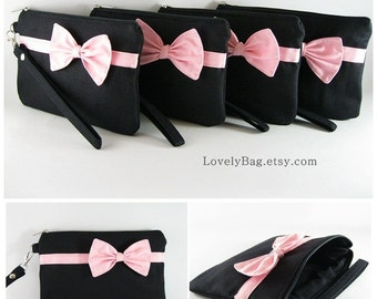 SUPER SALE - Set of 5 Black with Little Light Pink Bow Clutches - Bridal Clutch, Bridesmaid Bag, Wedding Gift, Zipper Pouch - Made To Order