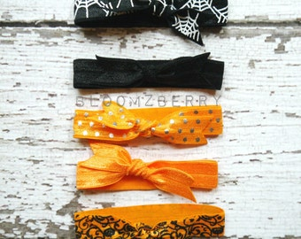 5 pcs Halloween Elastic Hair Tie - Butterfly Knotted Set - Black and Orange Color- Halloween Hair Ties - Halloween/Fall-Toddler to Adult