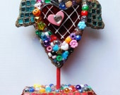 HEART CHRISTMAS gifts CLEARANCE embellished beaded found object standing winged heart love Valentines gifts