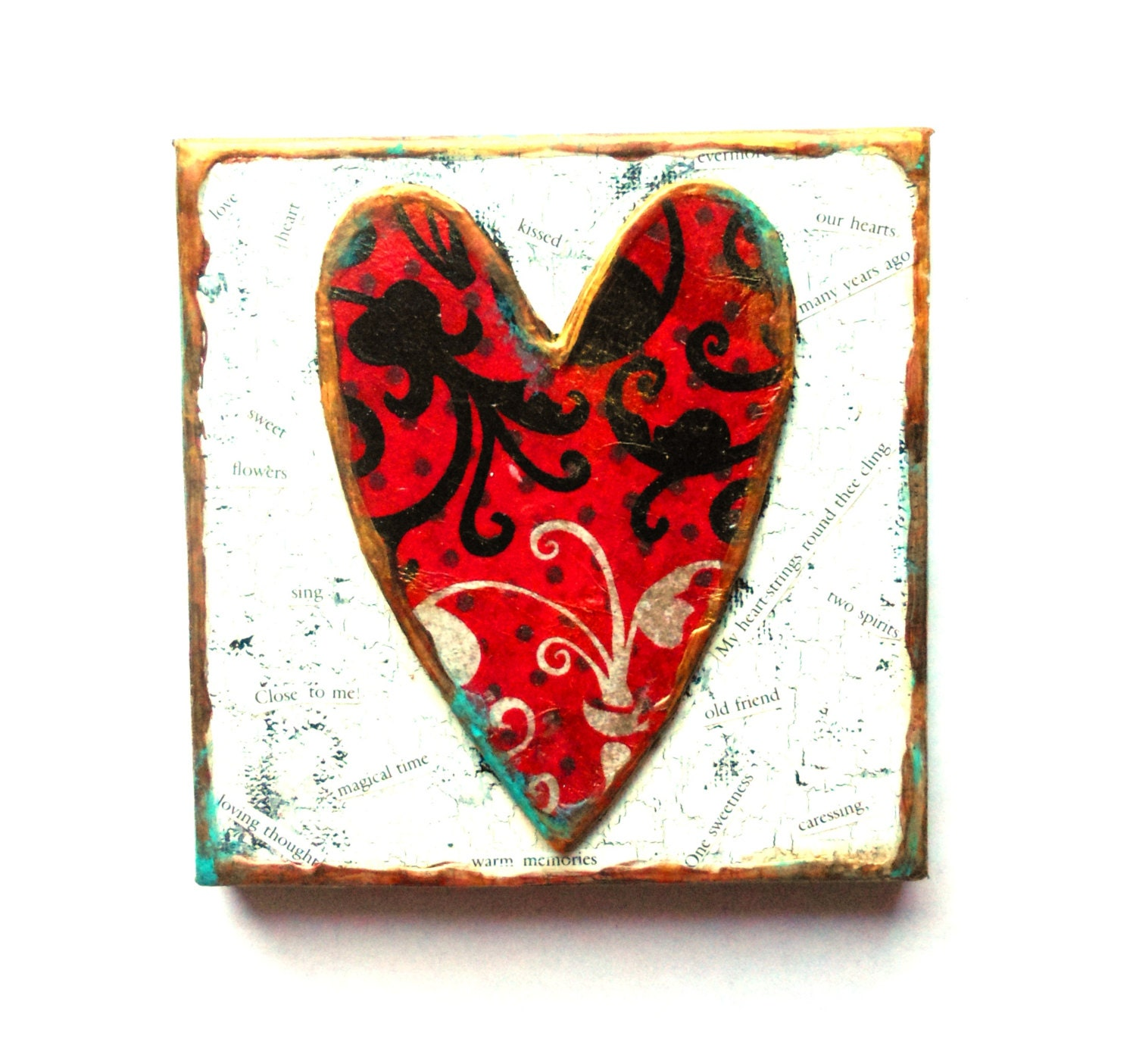 Hand made HEART Valentines Day Decoupage hand painted wood |Valentine Hand Painted Wood Signs