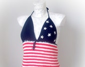 USA flag halter top,crochet sexy top,summer top,summer festival top,USA tank top,sexy halter top,