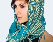 Screenprinted Pattern Shawl w/ Tassles- Organic Cotton Scarf- Fashion Accessory- Silkscreen Printed Tube Fabric Neckscarf